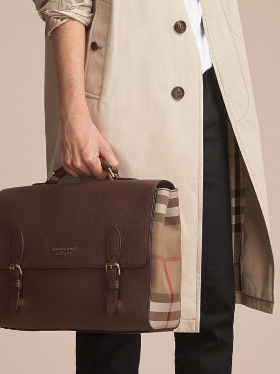Leather and House Check Satchel in Oak Brown - Men | Burberry Canada - cell image 3