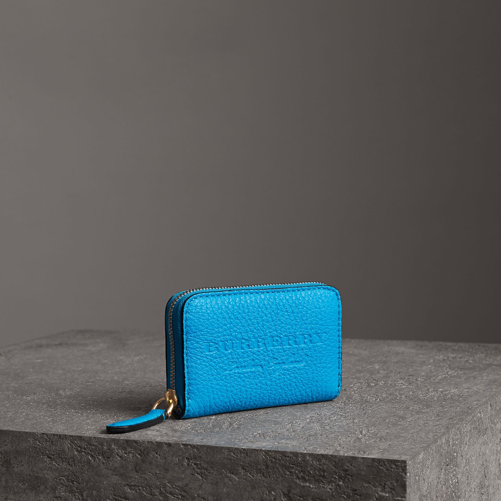 Embossed Leather Ziparound Coin Case in Neon Blue - Men | Burberry - gallery image 0