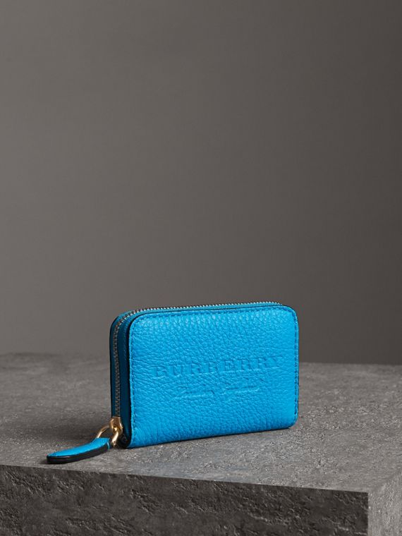 Embossed Leather Ziparound Coin Case in Neon Blue