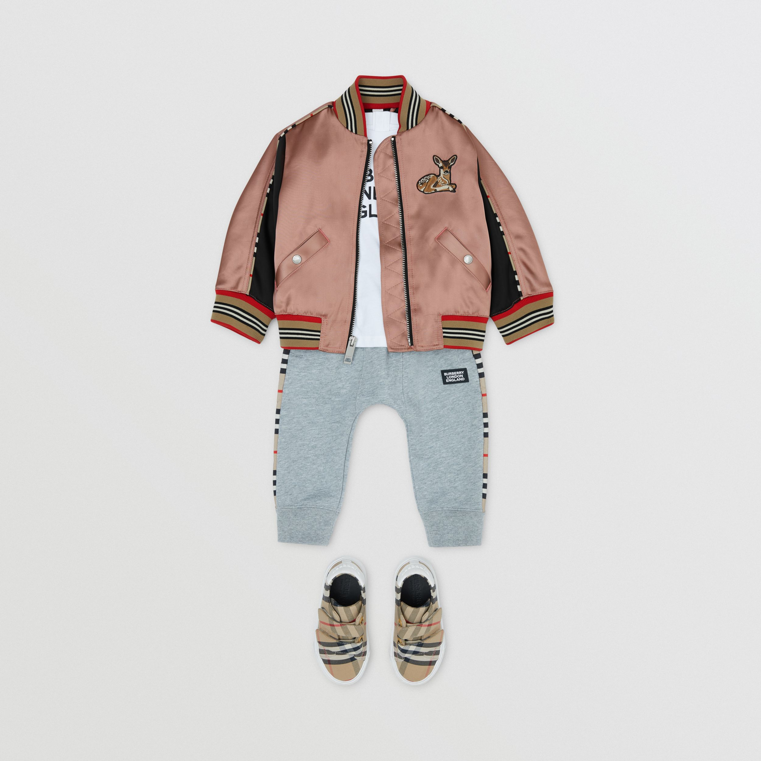 Deer Motif Sateen Bomber Jacket in Dusty Pink - Children | Burberry - 3