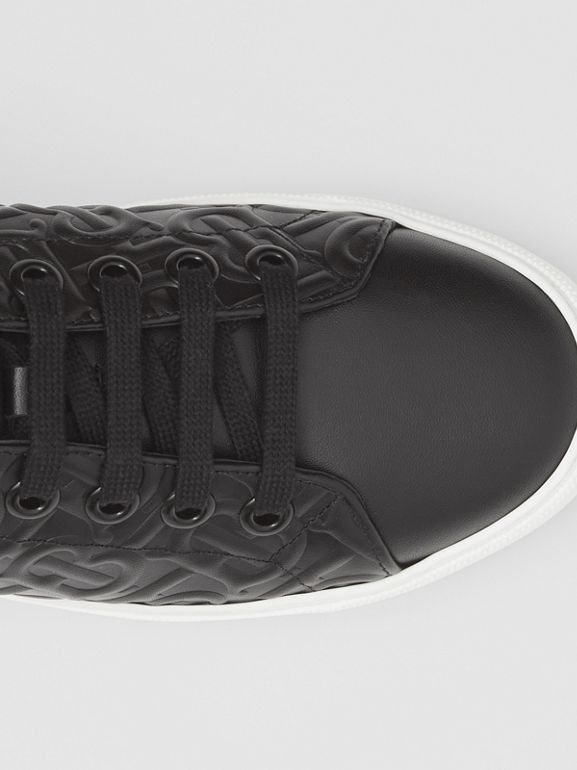 Monogram Leather Sneakers in Black - Women | Burberry - cell image 1