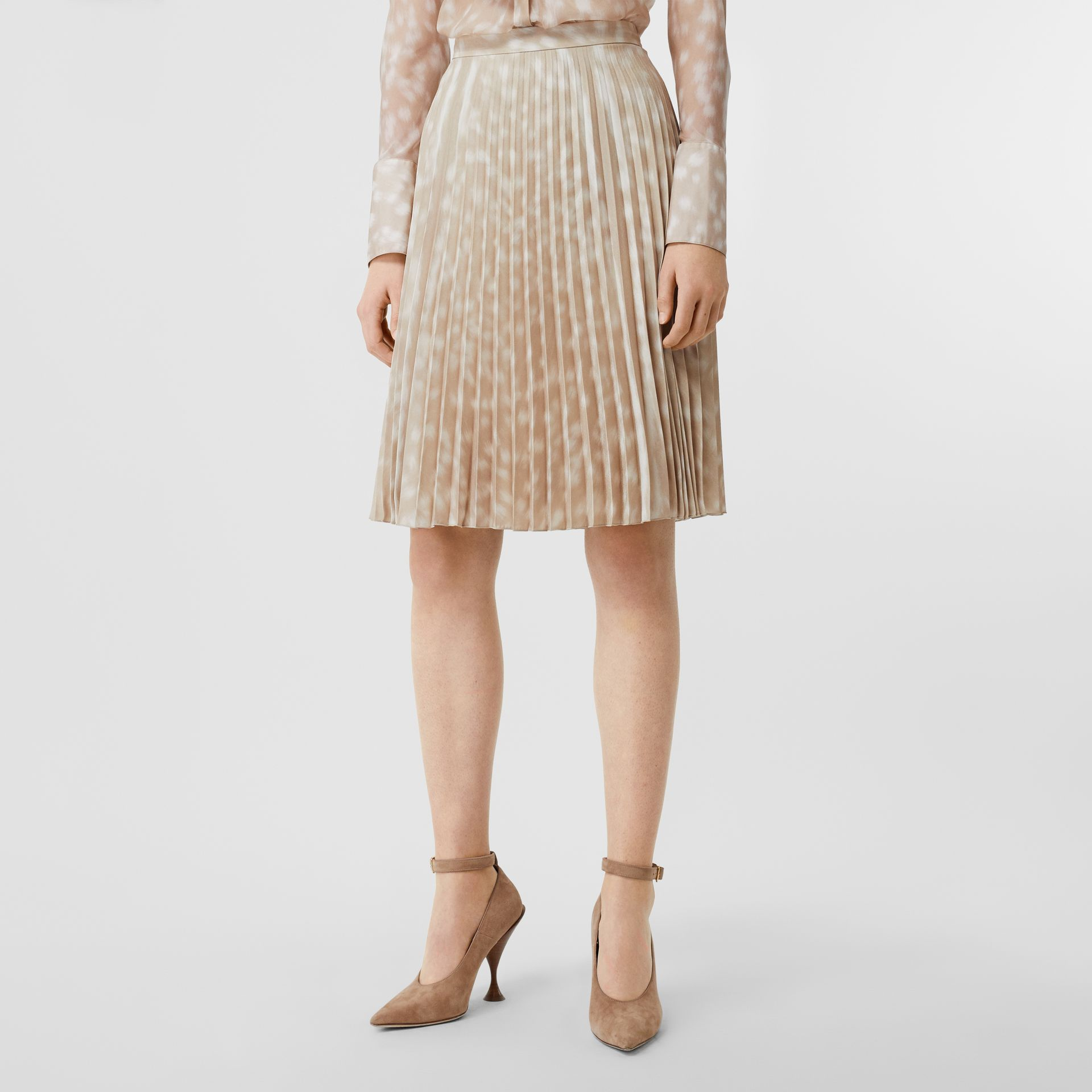 Deer Print Pleated Skirt in Soft Fawn - Women | Burberry - gallery image 4