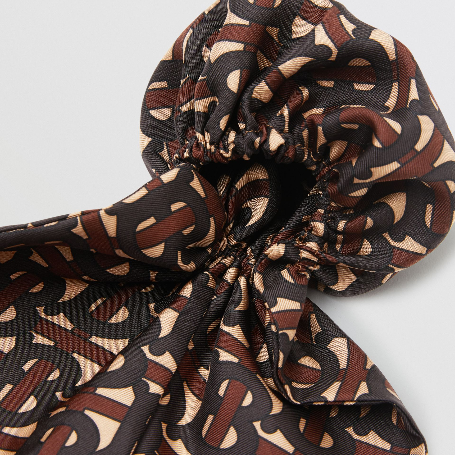 Monogram Print Silk Hair Scarf in Deep Brown - Women | Burberry - gallery image 1