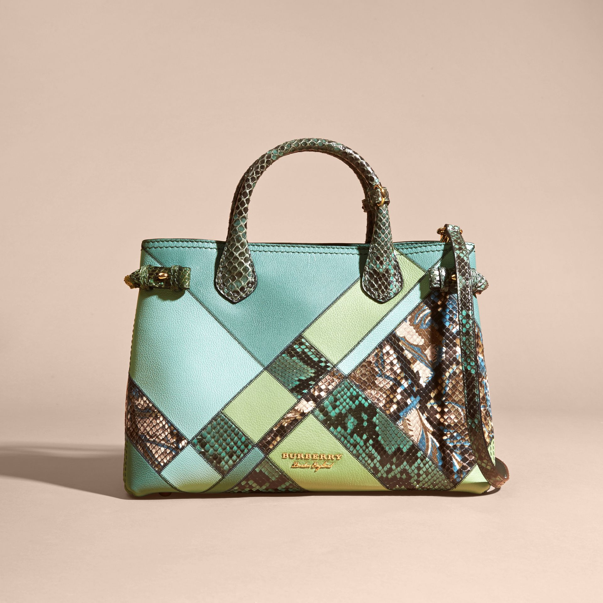 The Medium Banner in Patchwork Leather and Python Celadon Blue - gallery image 7