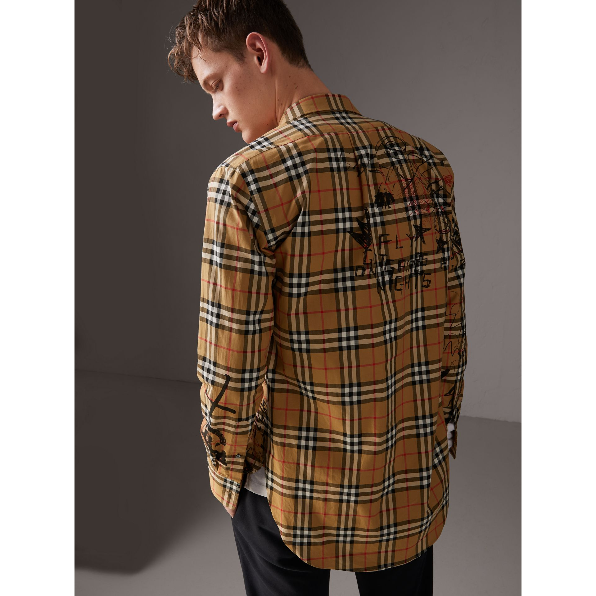 Burberry x Kris Wu Vintage Check Cotton Shirt in Antique Yellow - Men | Burberry United Kingdom - gallery image 2
