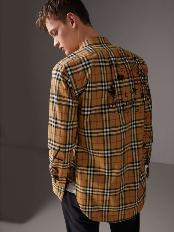 Burberry x Kris Wu Vintage Check Cotton Shirt in Antique Yellow - Men | Burberry United Kingdom - cell image 2