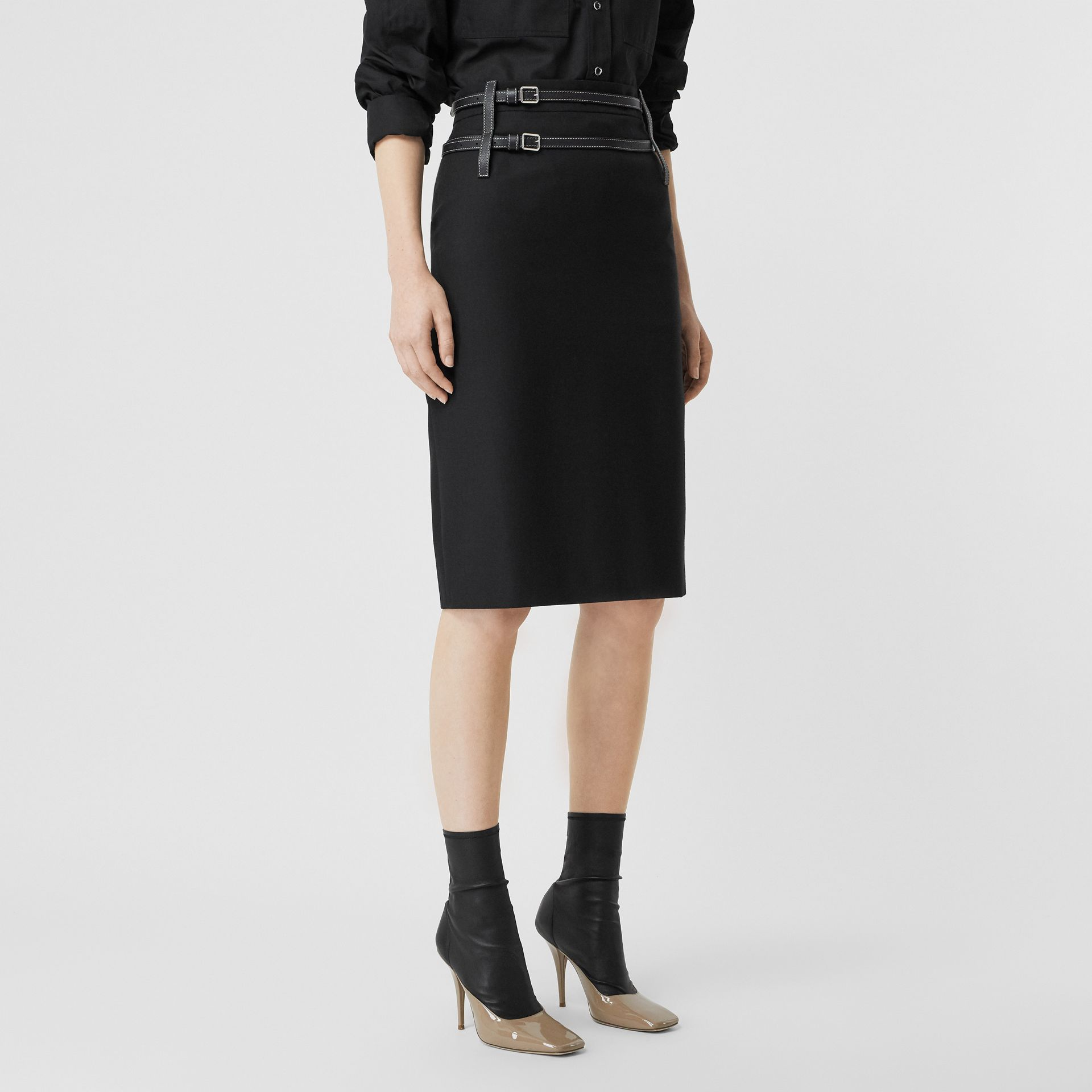 Leather Harness Detail Wool Pencil Skirt in Black - Women | Burberry - gallery image 4