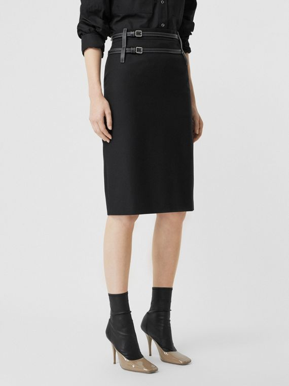 Leather Harness Detail Wool Pencil Skirt in Black