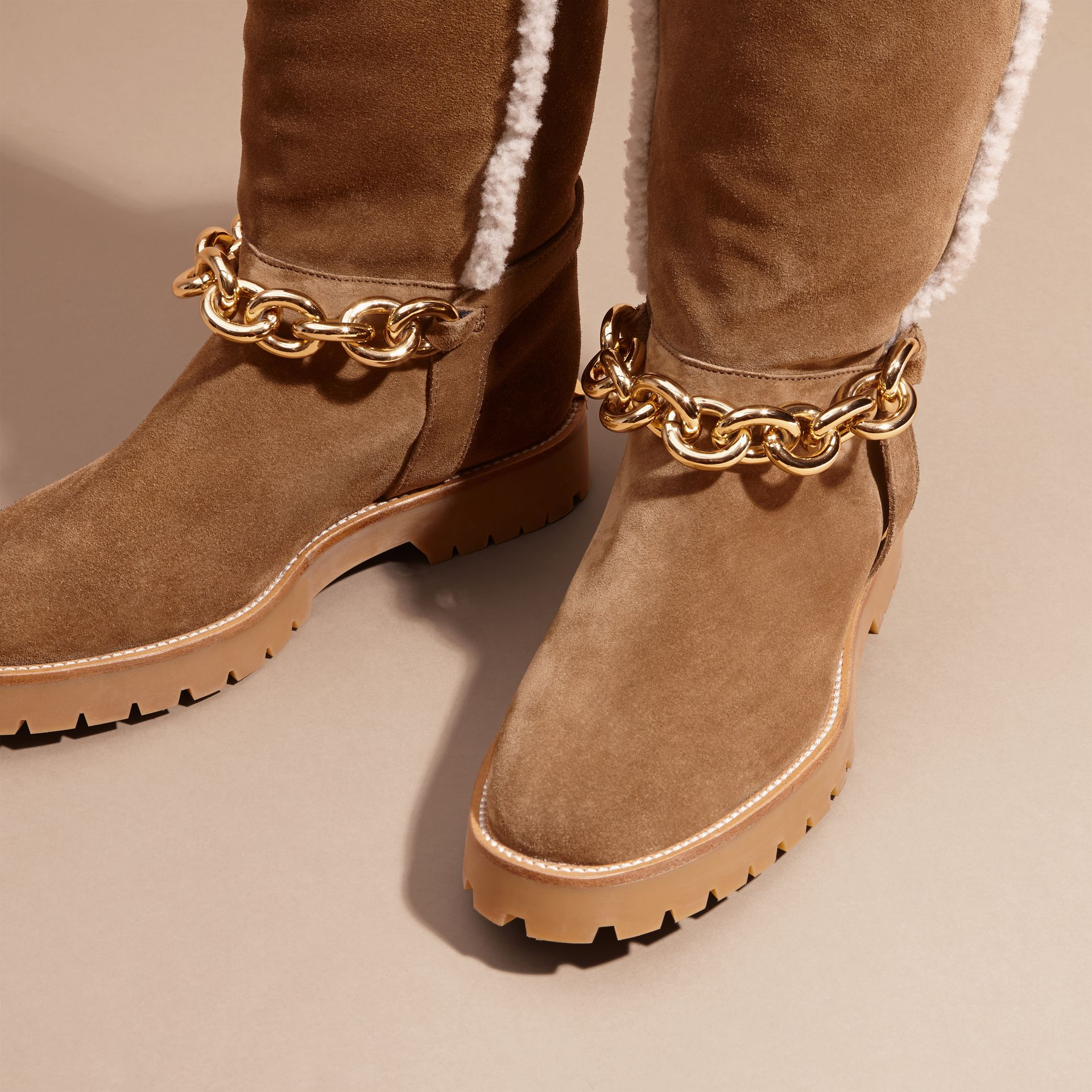 Light oak brown Chain Detail Shearling and Suede Boots - gallery image 3