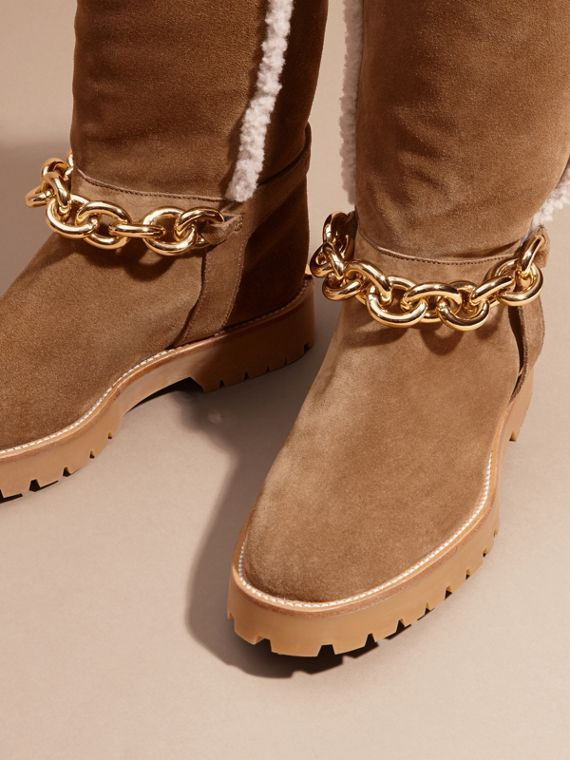 Light oak brown Chain Detail Shearling and Suede Boots - cell image 2