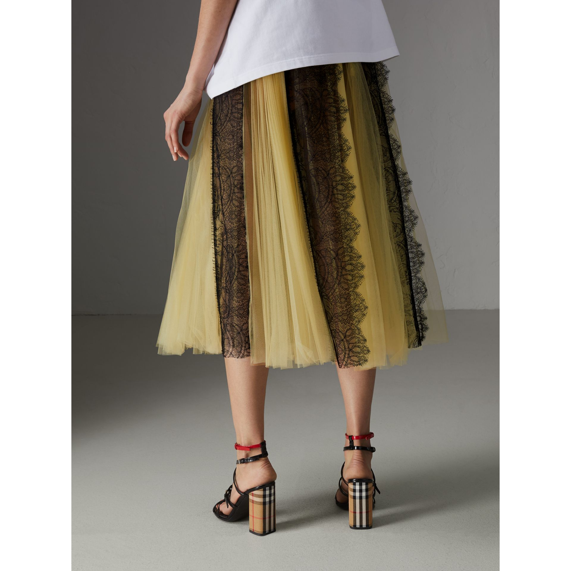 Lace Panel Pleated Tulle Skirt in Yellow - Women | Burberry - gallery image 2