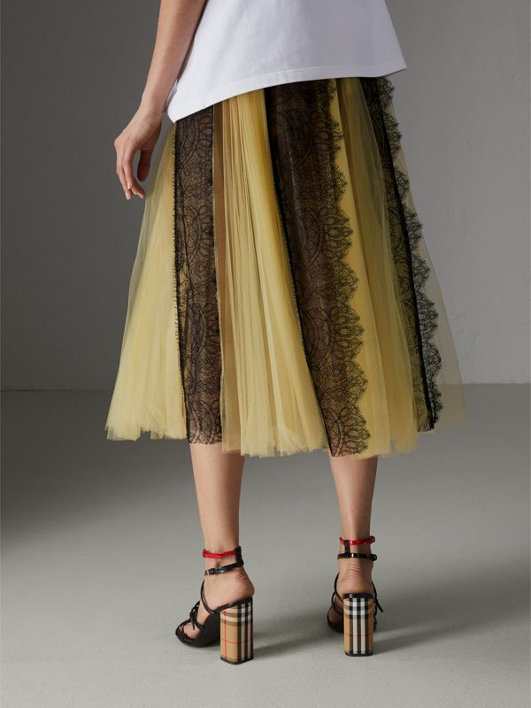 Lace Panel Pleated Tulle Skirt in Yellow - Women | Burberry - cell image 2