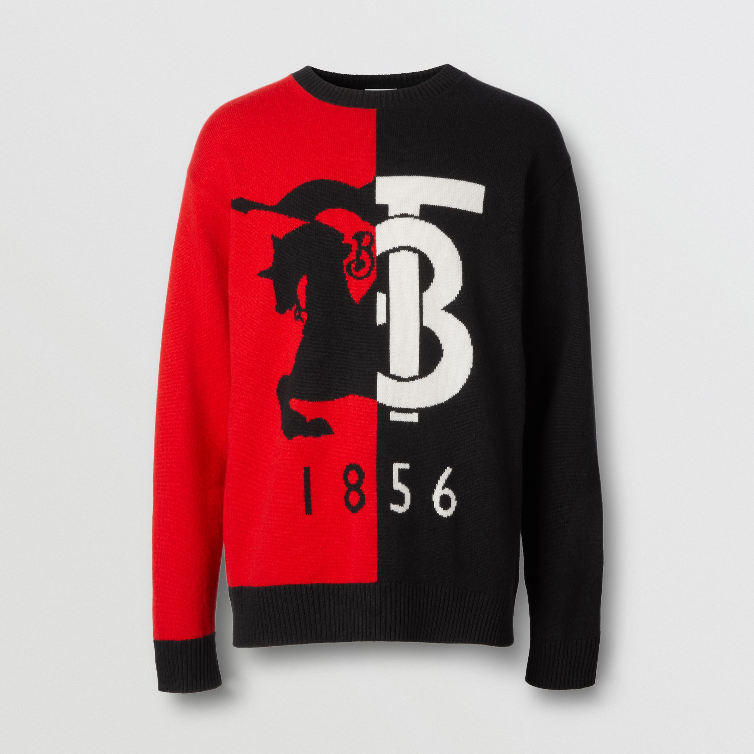 Contrast Logo Graphic Intarsia Cashmere Sweater in Black - Men | Burberry - 4