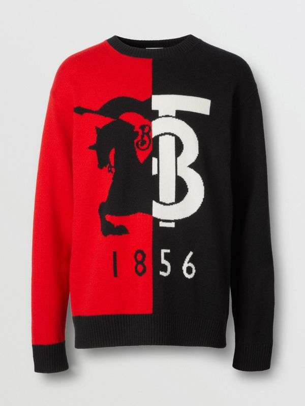 Contrast Logo Graphic Intarsia Cashmere Sweater in Black - Men | Burberry - cell image 3