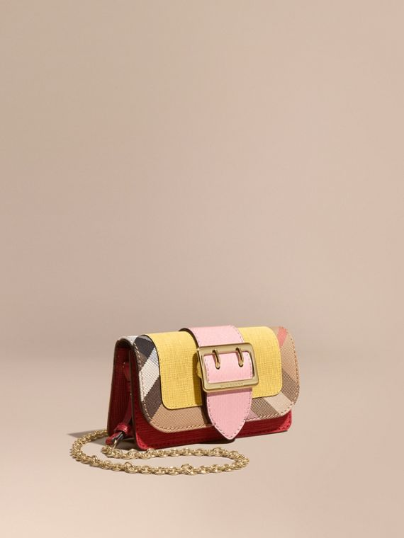 Mini sac The Buckle en peau de serpent et coton House check Quartz Jaune