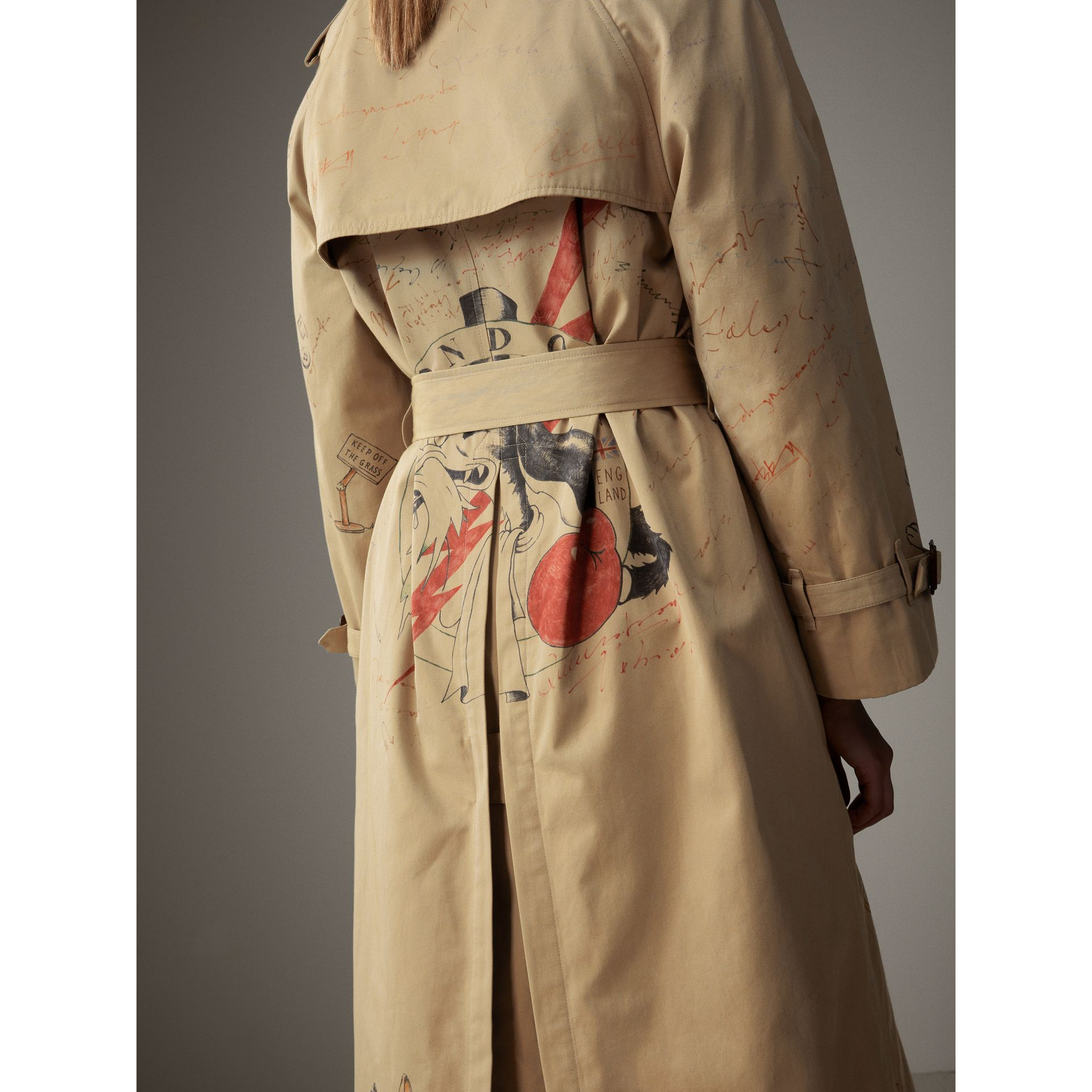 Sketch Print Tropical Gabardine Trench Coat in Honey - Women | Burberry - gallery image 6