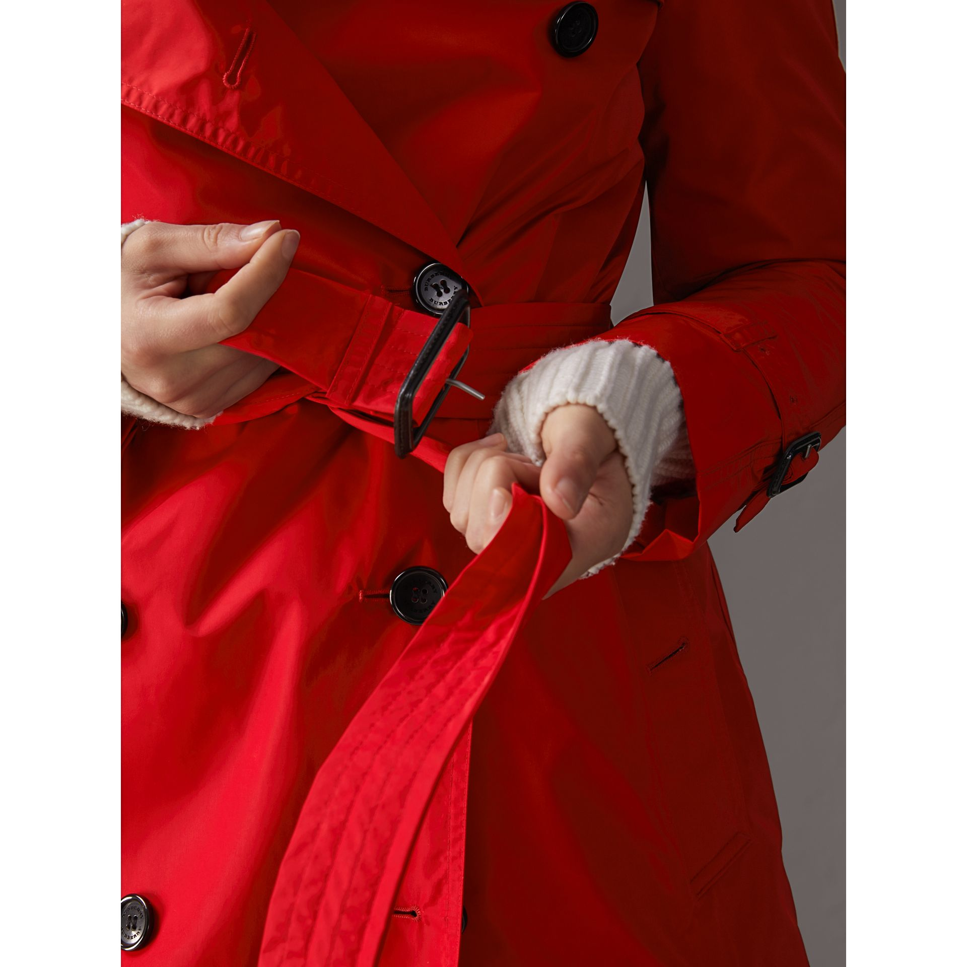 Detachable Hood Taffeta Trench Coat in Military Red - Women | Burberry - gallery image 4