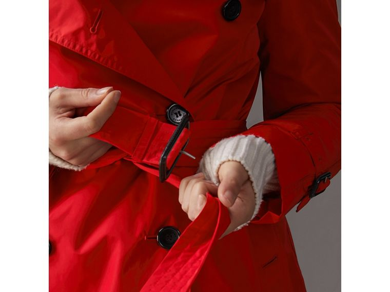 Detachable Hood Taffeta Trench Coat in Military Red - Women | Burberry - cell image 4