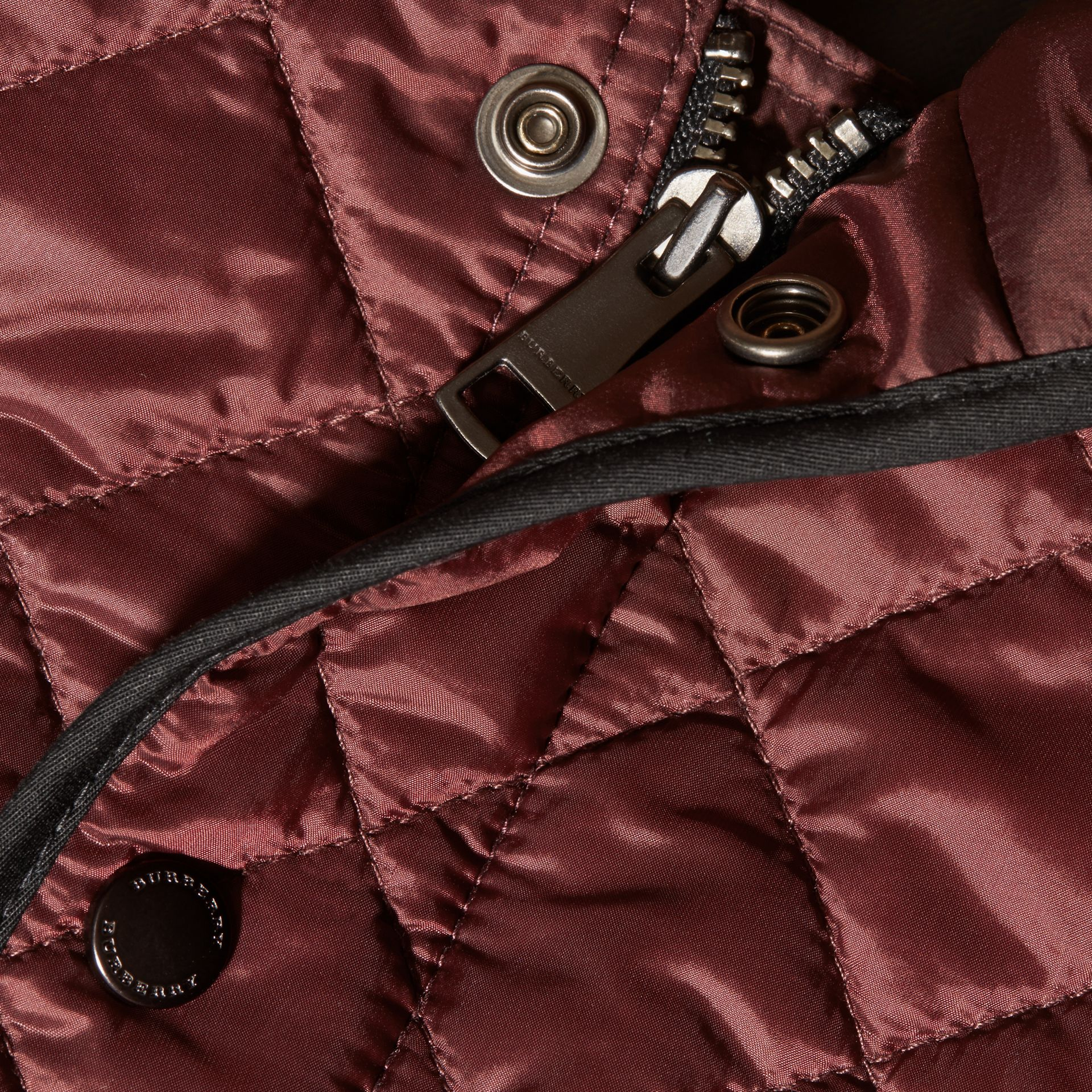 Deep burgundy Lightweight Quilted Bomber Jacket - gallery image 2