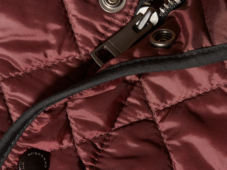 Deep burgundy Lightweight Quilted Bomber Jacket - cell image 1