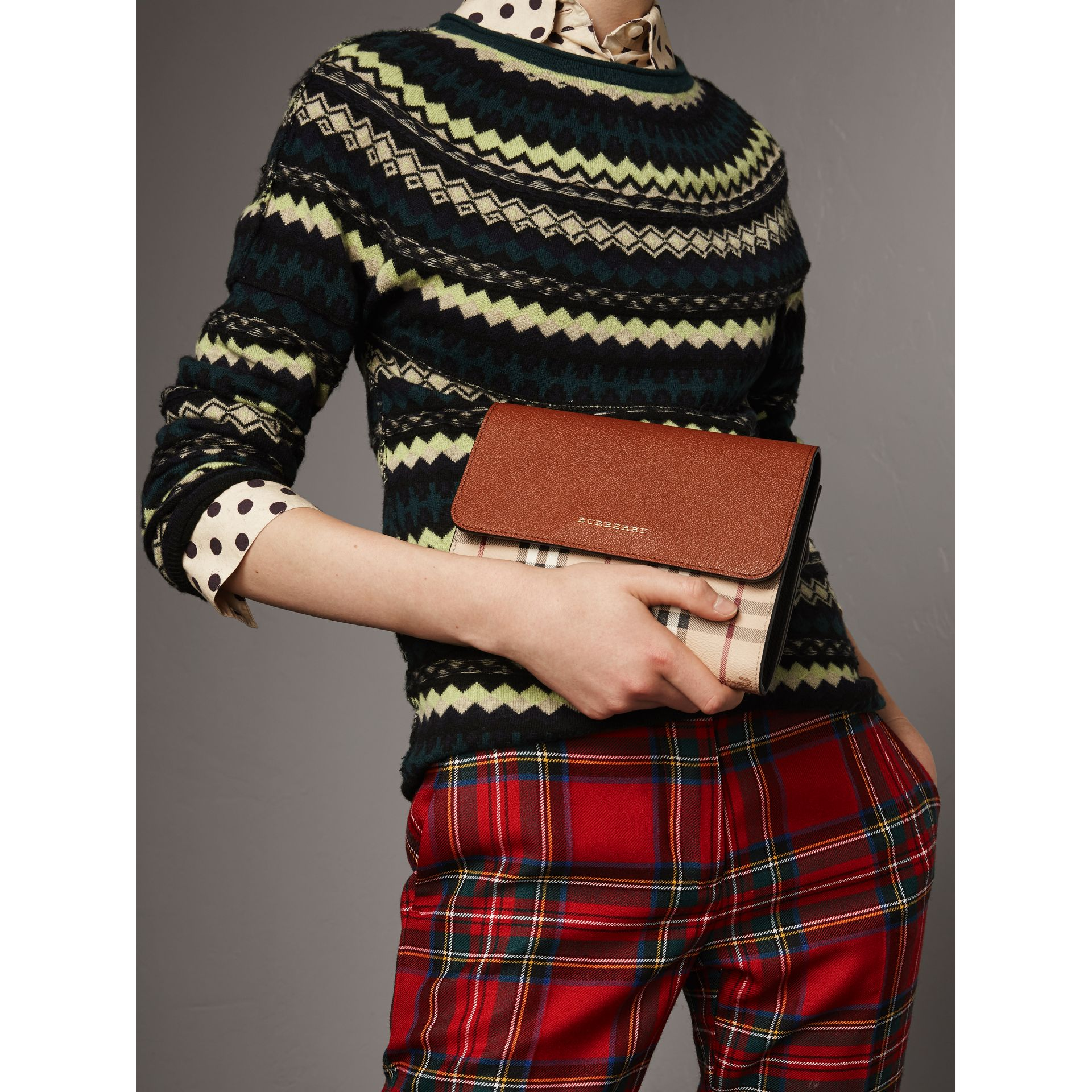 Haymarket Check and Leather Crossbody Bag in Bright Toffee/multi - Women | Burberry - gallery image 3