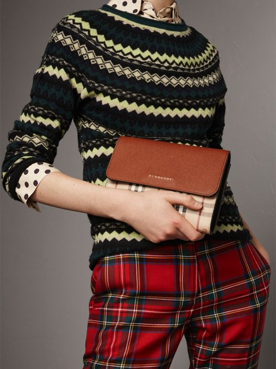 Haymarket Check and Leather Crossbody Bag in Bright Toffee/multi - Women | Burberry Australia - cell image 3