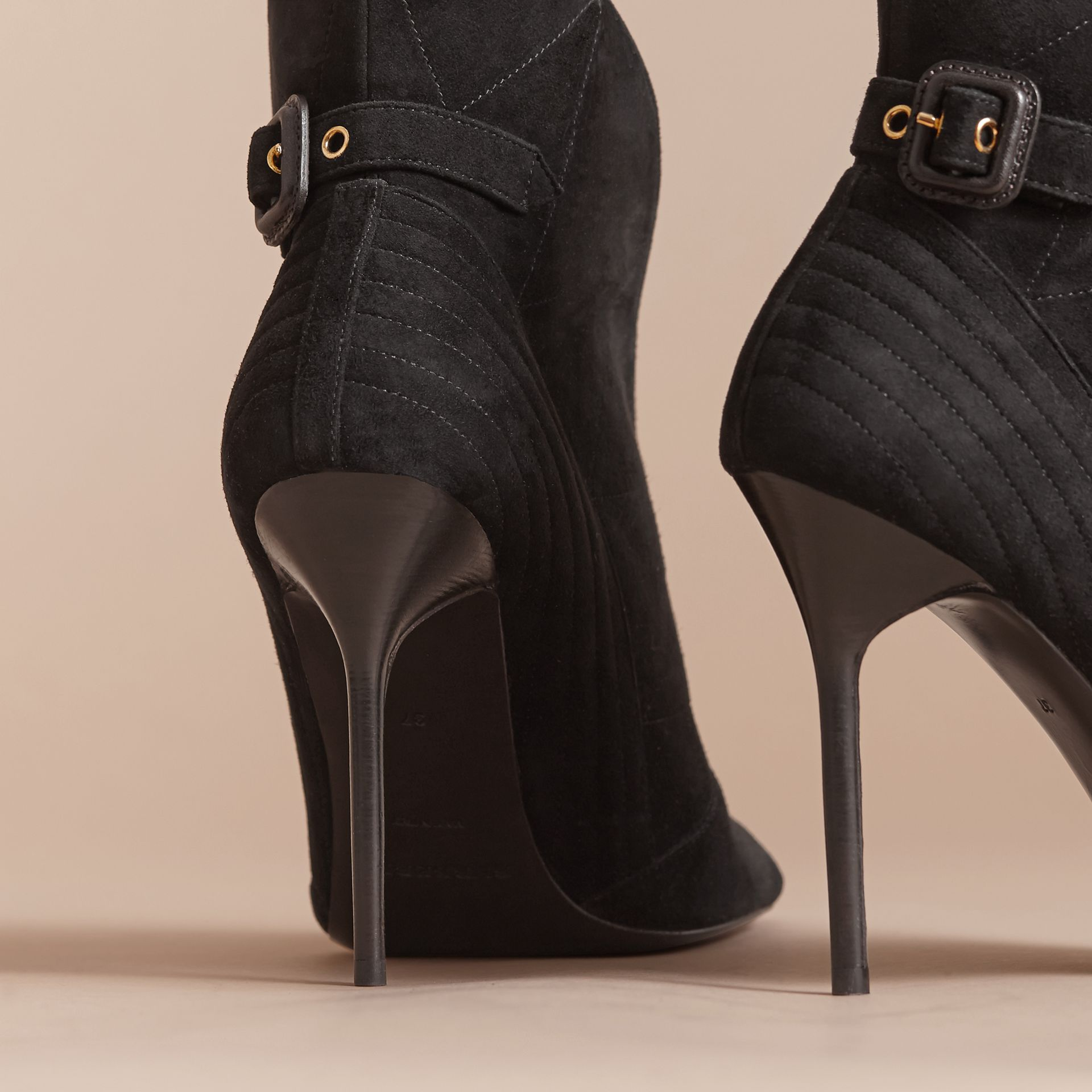 Buckle Detail Suede Peep-toe Ankle Boots in Black - Women | Burberry - gallery image 3