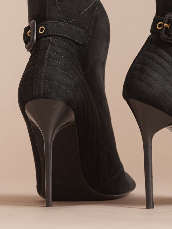 Buckle Detail Suede Peep-toe Ankle Boots in Black - Women | Burberry - cell image 3