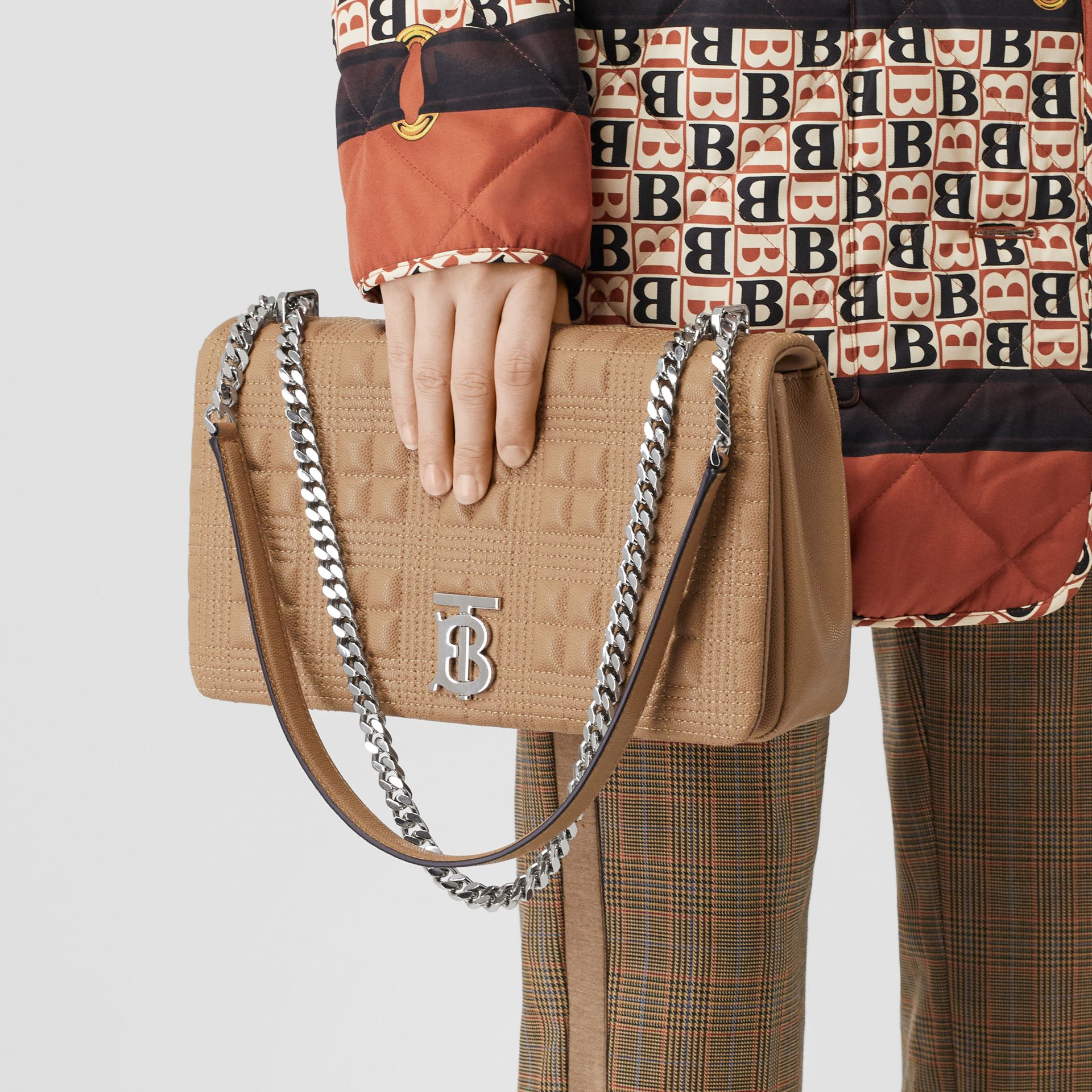 Medium Quilted Grainy Leather Lola Bag in Camel/palladium - Women | Burberry - gallery image 2