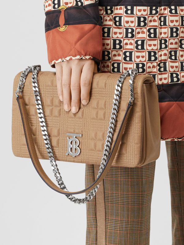 Medium Quilted Grainy Leather Lola Bag in Camel/palladium - Women | Burberry - cell image 2