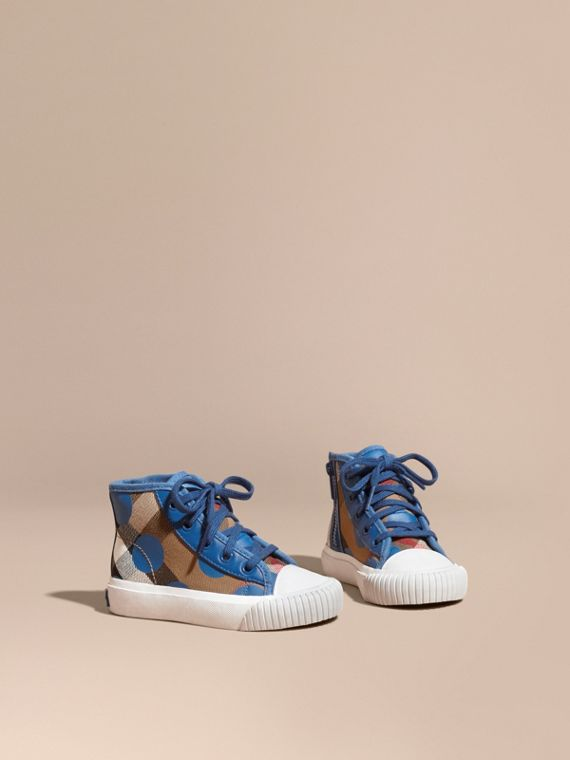 Leather Trim Heart Print Check High-top Trainers Lupin Blue