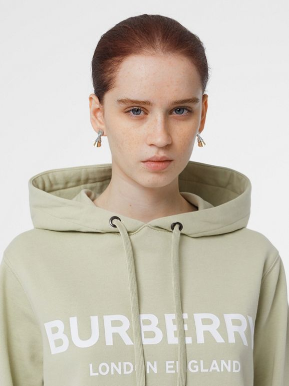 Logo Print Cotton Oversized Hoodie in Pale Apple Green - Women | Burberry United Kingdom - cell image 1