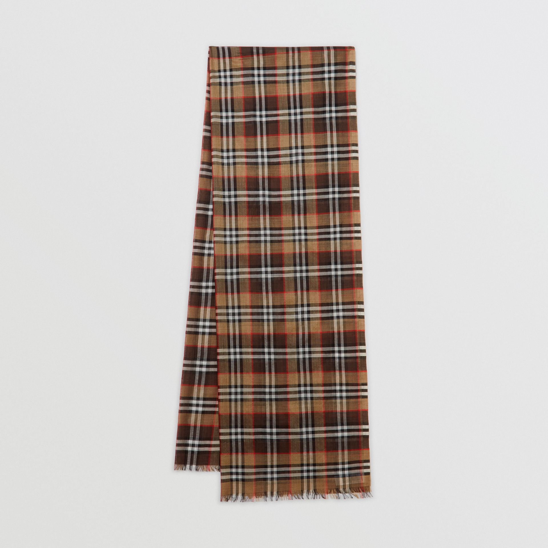 Vintage Check Lightweight Wool Silk Scarf in Mahogany | Burberry United Kingdom - gallery image 0