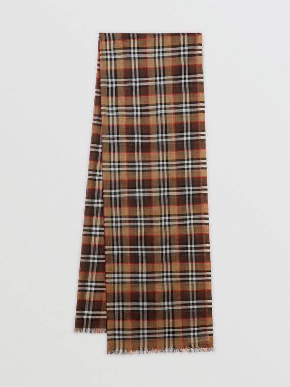 Vintage Check Lightweight Wool Silk Scarf in Mahogany