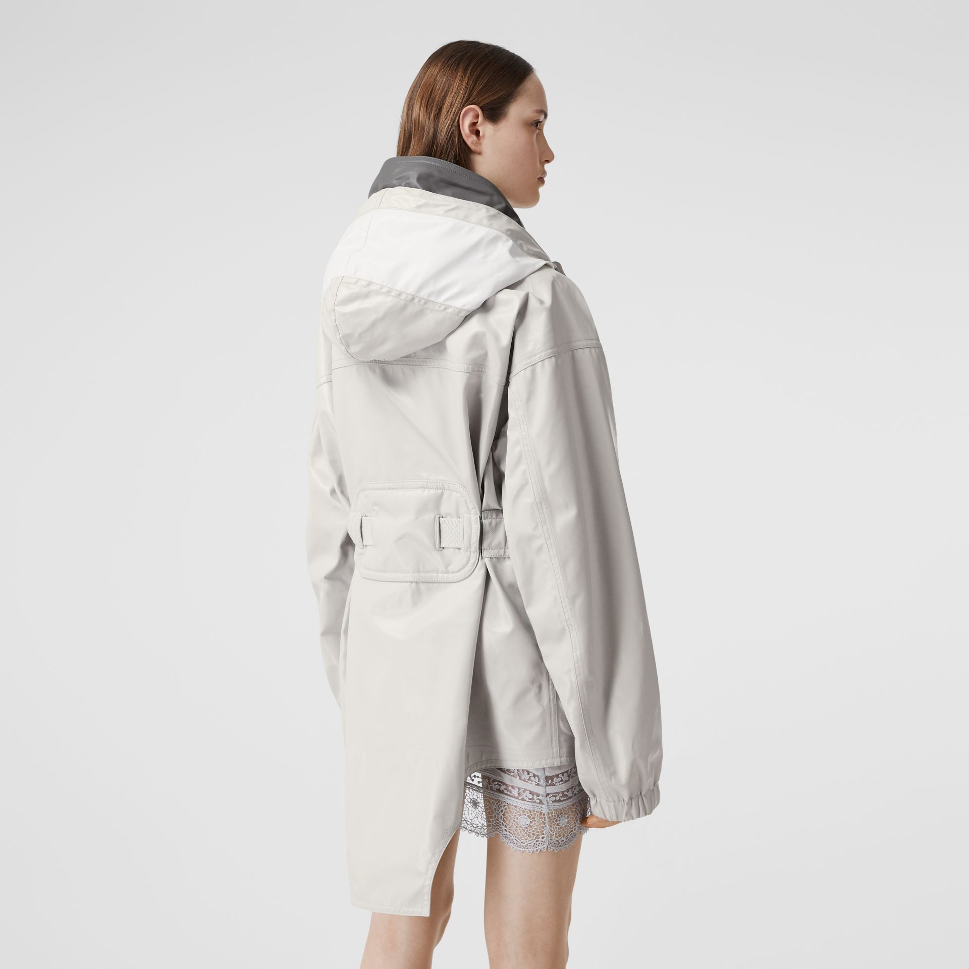 Cut-out Hem Coated Nylon Parka in Light Pebble Grey - Women | Burberry United Kingdom - gallery image 1