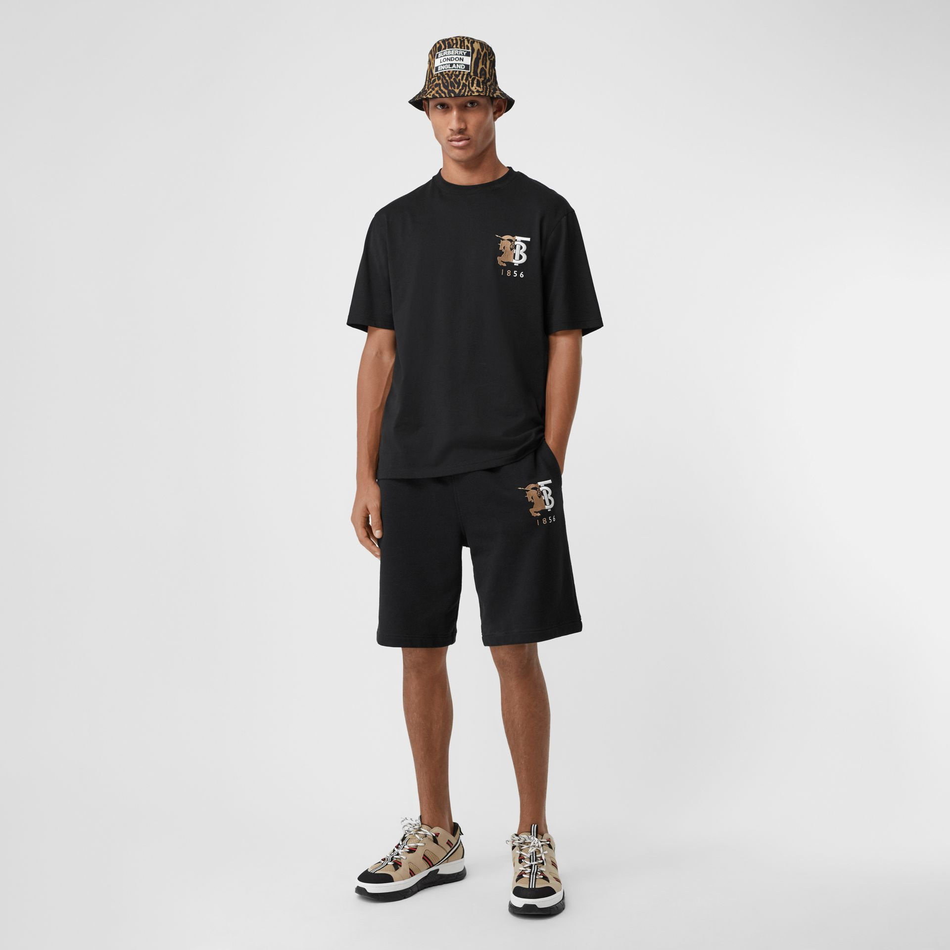 Logo Graphic Cotton Drawcord Shorts in Black - Men | Burberry United Kingdom - gallery image 0