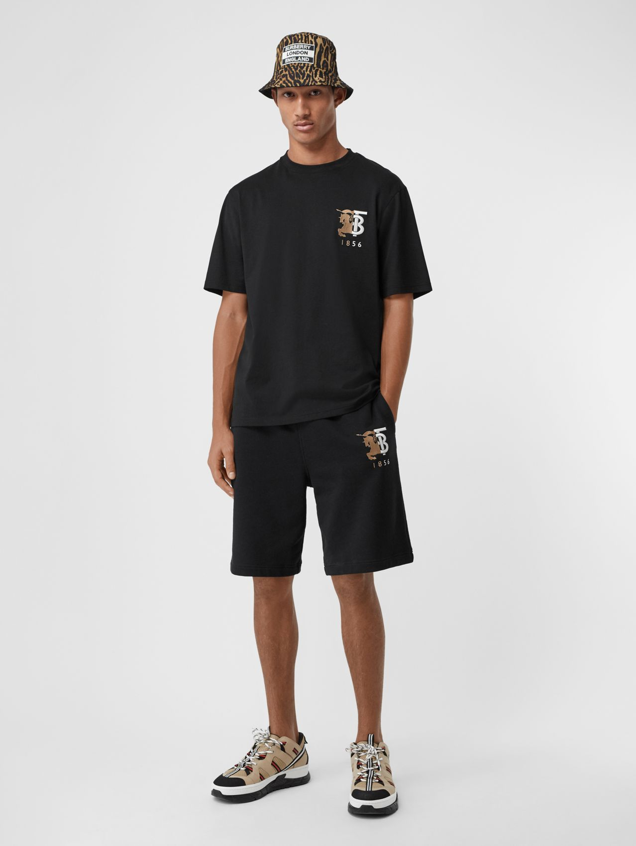 Logo Graphic Cotton Drawcord Shorts in Black