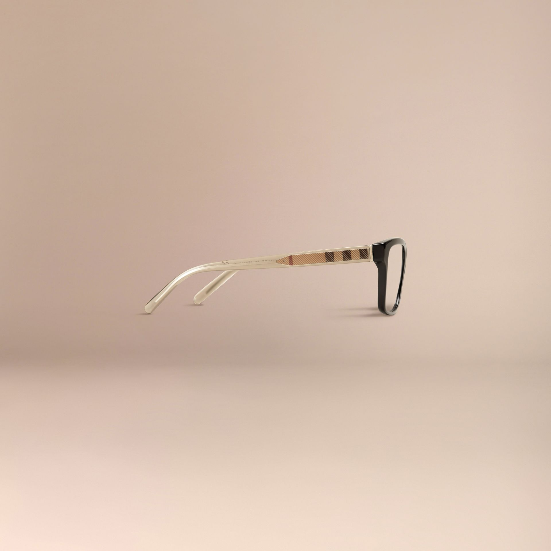 Black Check Detail Rectangular Optical Frames Black - gallery image 5