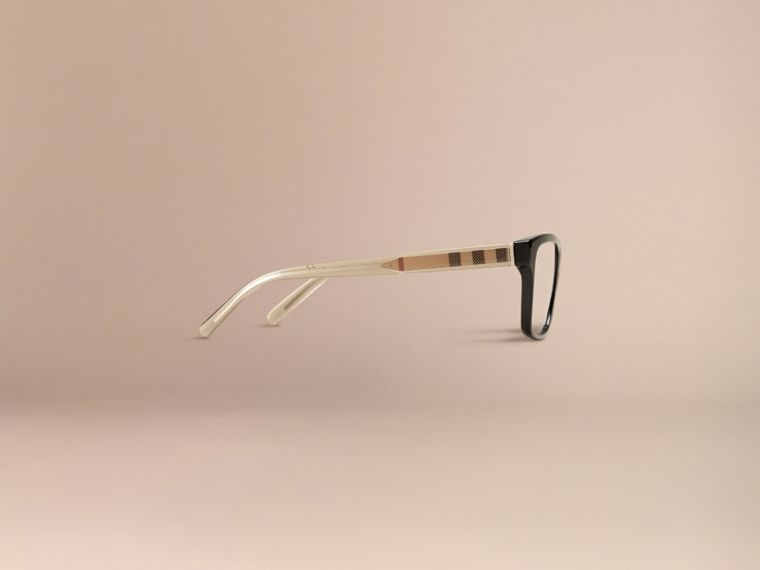 Black Check Detail Rectangular Optical Frames Black - cell image 4