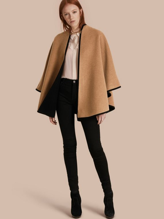 Wool Cashmere Military Cape Camel/black