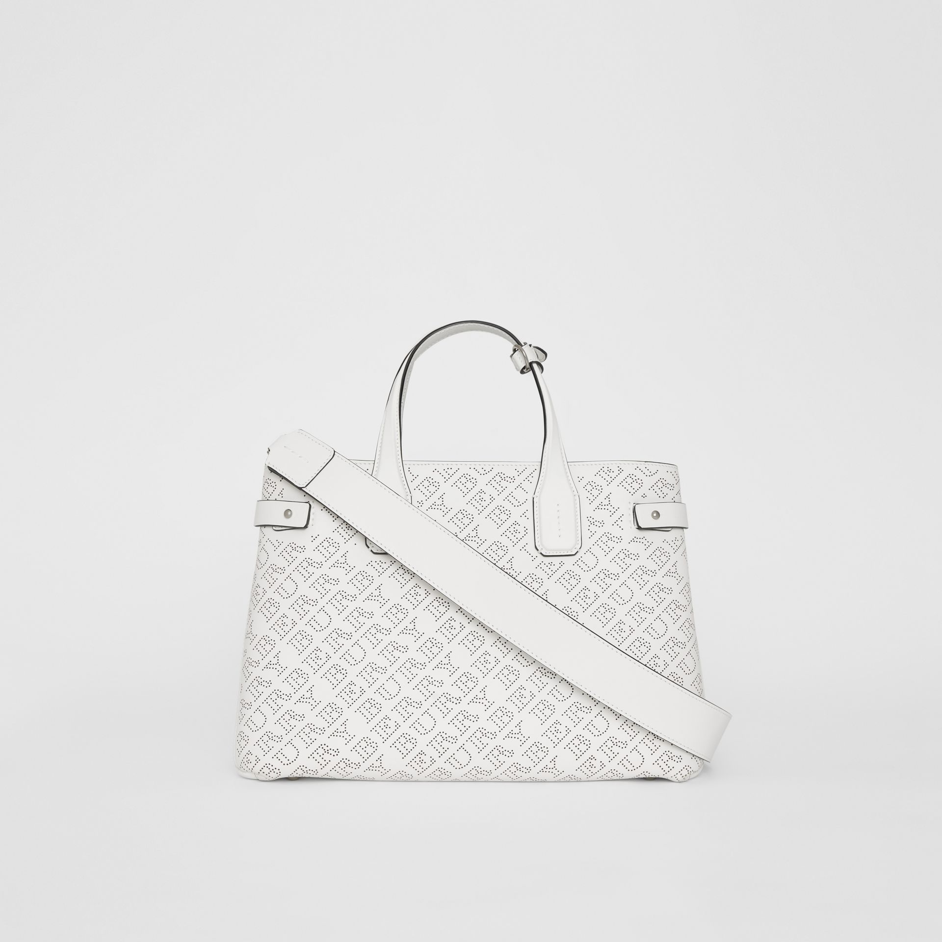The Medium Banner in Perforated Logo Leather in Chalk White - Women | Burberry Australia - gallery image 7