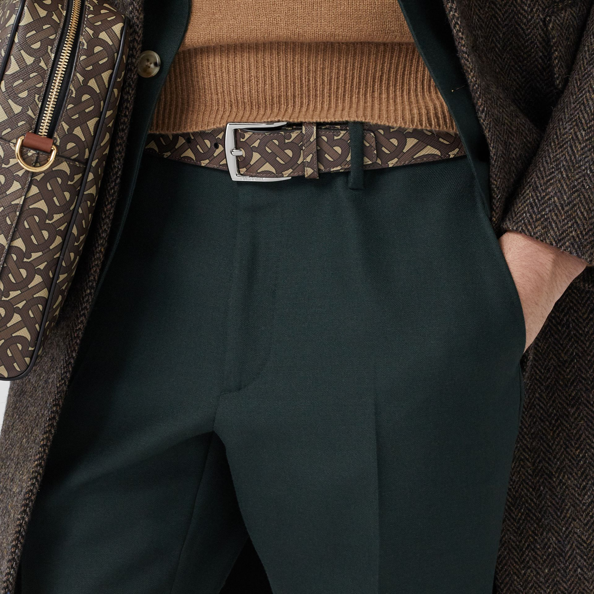 Monogram E-canvas Belt in Bridle Brown - Men | Burberry Singapore - gallery image 2