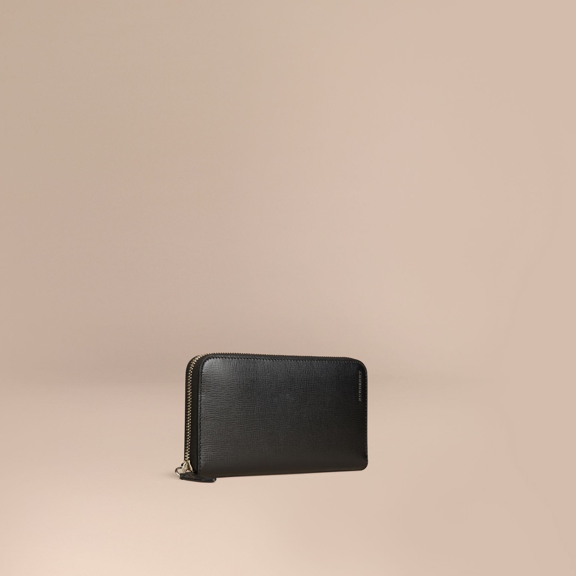 Black London Leather Ziparound Wallet Black - gallery image 1