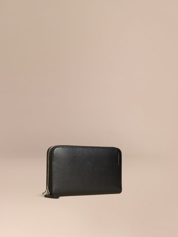 London Leather Ziparound Wallet Black