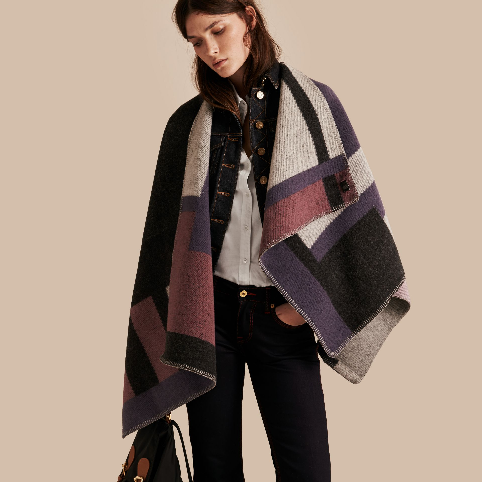 Mauve pink Check Wool and Cashmere Blanket Poncho - gallery image 1