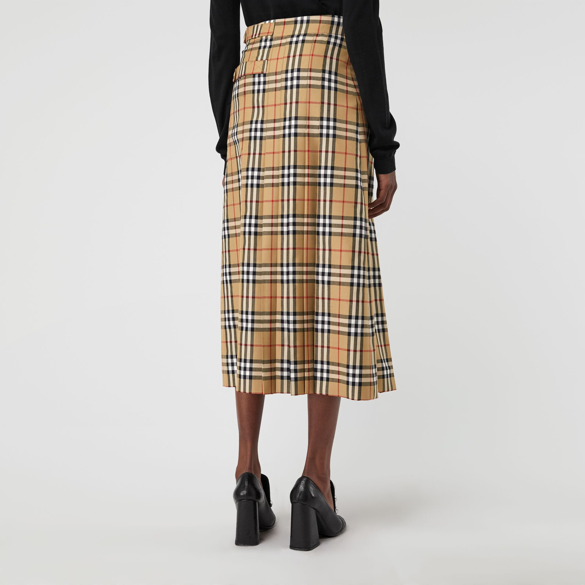 Vintage Check Wool Kilt in Antique Yellow - Women | Burberry Australia - gallery image 2