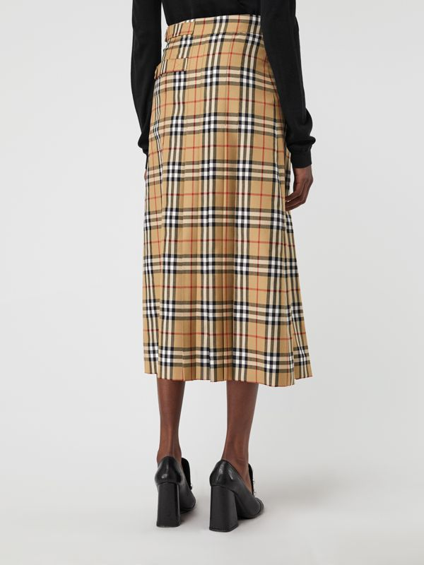 Vintage Check Wool Kilt in Antique Yellow - Women | Burberry - cell image 2