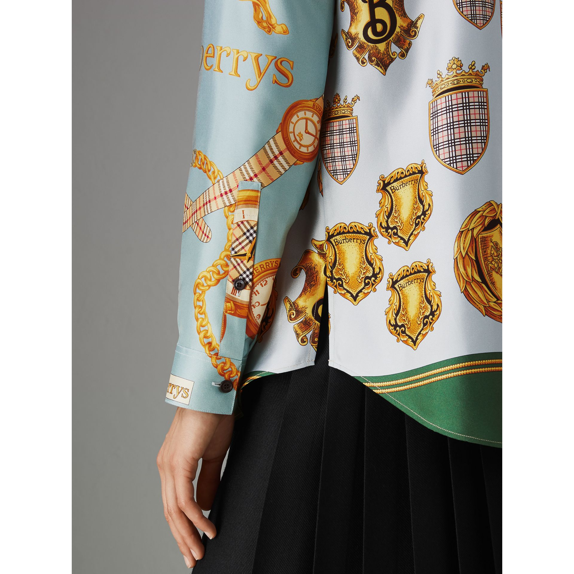 Archive Scarf Print Silk Shirt in Airforce Blue - Women | Burberry United States - gallery image 1