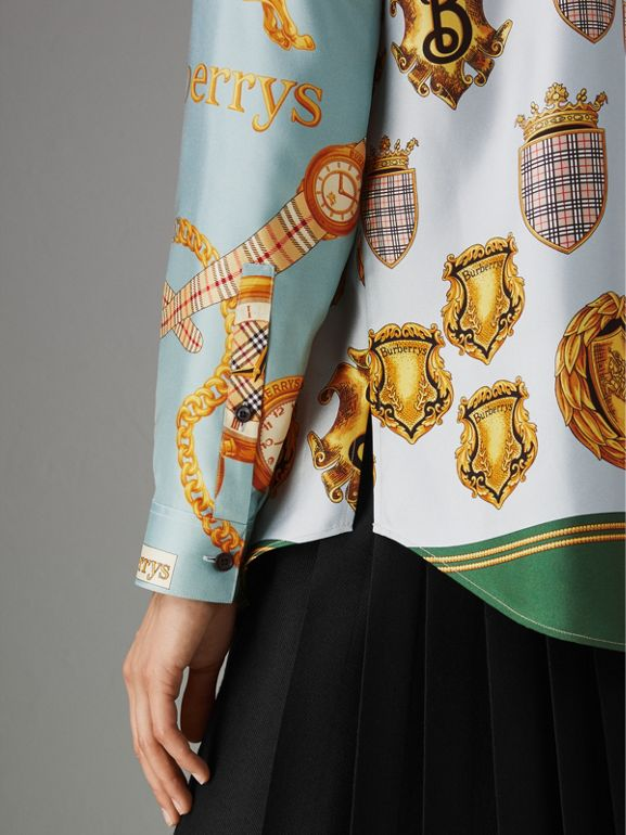 Archive Scarf Print Silk Shirt in Airforce Blue - Women | Burberry Hong Kong - cell image 1