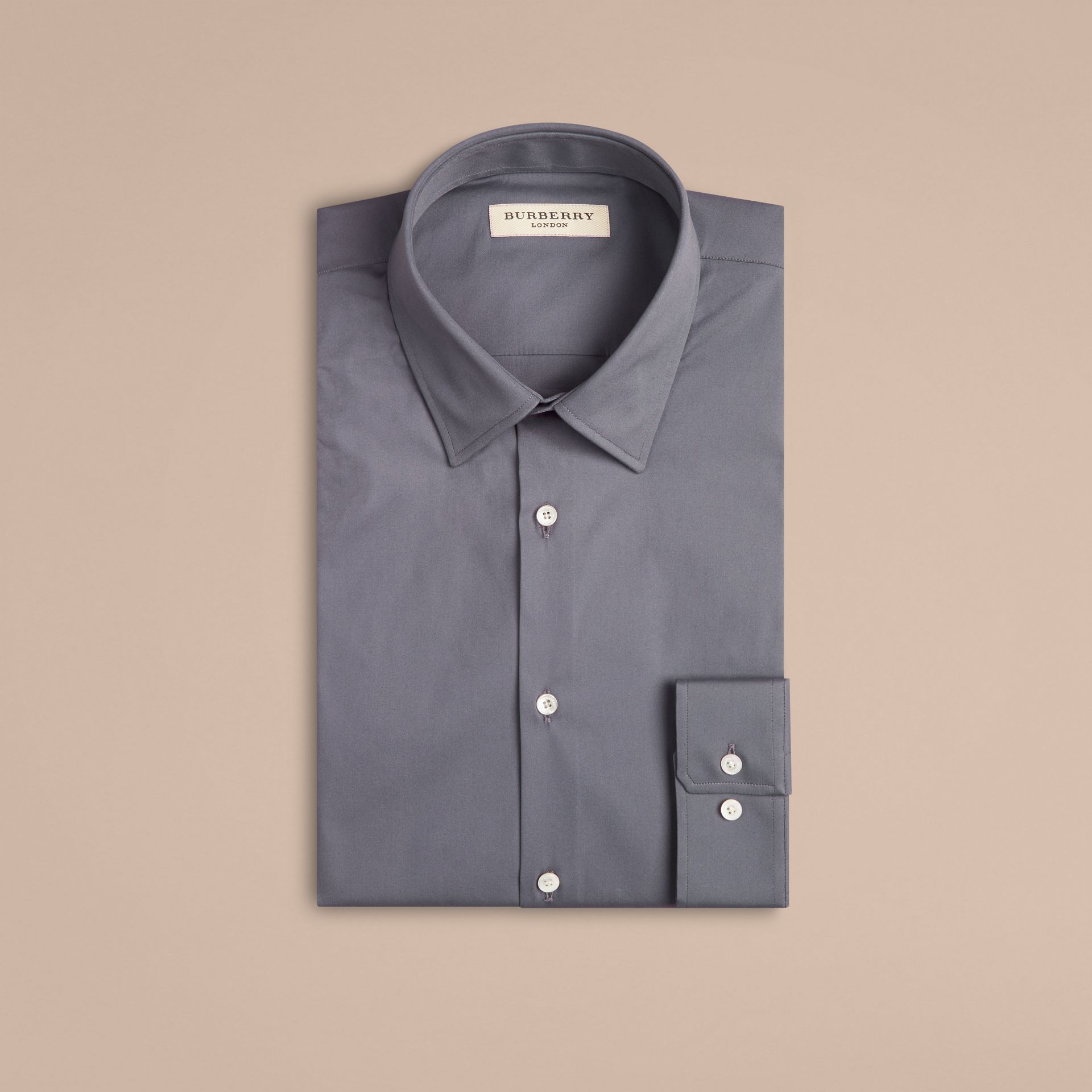 Modern Fit Stretch Cotton Shirt in City Grey - gallery image 4